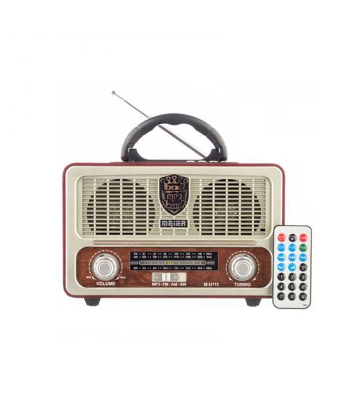 Vintage Φορητό Επαναφορτιζόμενο Ραδιόφωνο FM/AM/USB/SD/AUX MP3 Player με Τηλεχειριστήριο (M-U111)